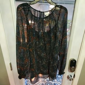 New Floral smocked sheer blouse and cami
